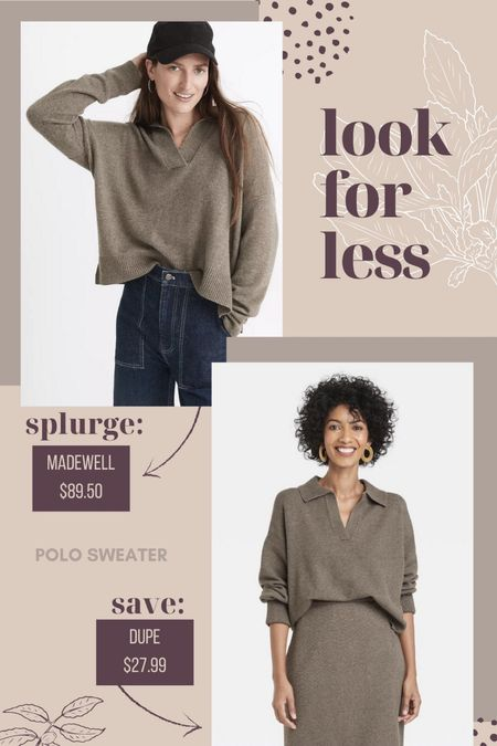 Look for Less | Cute polo sweater trend for less than half the price! #madewell #targetstyle #fallstyle #fallfashion #targetfashion Target fashion, Target style, fall fashion  #liketkit #LTKunder50 #LTKworkwear #LTKsalealert   #LTKunder100 #LTKSeasonal #LTKstyletip
