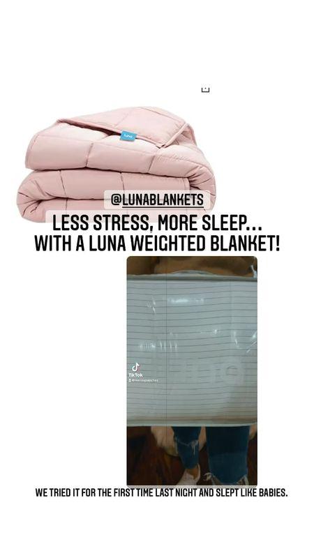 Less stress, more sleep with this amazing blanket. Use code -15SHOPLUNA to save.   weightedblankets #sleepmore  #LTKHoliday #LTKSeasonal #LTKGiftGuide