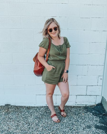 Olive green romper, Aerie romper, pocket romper, summer, cognac sandal, $14 sandal, puff sleeve romper, affordable sunglasses, cognac bag, cognac backpack, http://liketk.it/2SqVR #LTKsalealert #LTKshoecrush #LTKstyletip #ltksummer #liketkit @liketoknow.it