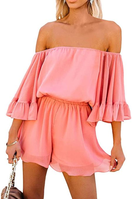 Off Shoulder Coral Ruffle Bell Sleeve Romper $24 🤍 Amazon fashion finds! Click the products below to shop! Follow along @christinfenton for new looks & sales! @shop.ltk #liketkit #founditonamazon 🥰 So excited you are here with me! DM me on IG with questions! 🤍 XoX Christin  #LTKstyletip #LTKshoecrush #LTKcurves #LTKitbag #LTKsalealert #LTKwedding #LTKfit #LTKunder50 #LTKunder100 #LTKbeauty #LTKSale #LTKworkwear #LTKSale