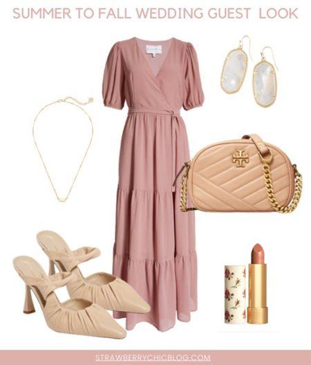 Summer to fall wedding guest look- pair a long flowy dress with cute heels   #LTKwedding #LTKstyletip #LTKshoecrush