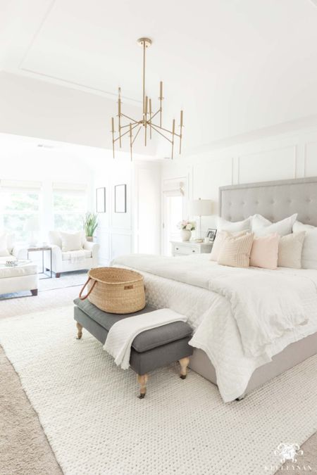 Some new changes are coming to our master bedroom soon! Home decor bedroom decor master bedroom suite platform bed brass chandelier white bedding bed bench white rug  #LTKhome #LTKstyletip
