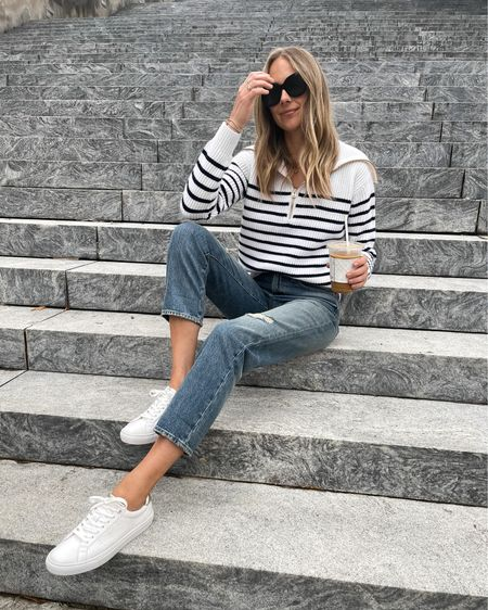 Love this cashmere striped sweater for fall! Fits tts (wearing small) #falloutfit   #LTKunder100 #LTKunder50 #LTKstyletip
