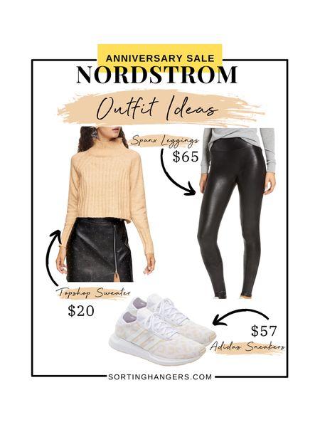 Nordstrom Anniversary Sale Outfit Ideas! Spank Faux leather leggings | Topshop Cowlneck sweater | Adidas Swift Run X Sneakers    #LTKshoecrush #LTKsalealert #LTKstyletip