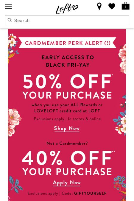 LOFT Sale Alert! Get 50% off for Cardmembers (and double points) when you use your ALL Rewards, LOVELOFT or Ann Taylor card at LOFT. The promotion runs through 11/24 at 11:59PM ET. If Cardmembers shop in stores 11/22-11/23 they're giving away an exclusive tote for purchases of $85+. Non cardmembers get 40% off with the code GIFTYOURSELF. I am working on new try-ons and reviews so I hope to have my posts up soon. 🛍 Shop a few of my sales picks @liketoknow.it http://liketk.it/2Hd7W #liketkit