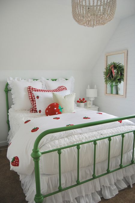 We just finished a fun update on my little girls room. The room has all the fun elements of an attic room. It's has fun ceiling lines and beadboard trim. The room is only 11x9 but we managed to fit a full size bed in it. I thought a sweet garden/strawberry theme would be perfect for the space. The bedding from @kipandco made the theme come together! Their strawberrry bedding is so soft and the quality is incredible. Everything else in the room I have linked through @liketoknow.it  just take a quick screen shot of this picture, head to the app and all the links will be there. 🙌🏻  http://liketk.it/2Kgvc #liketkit   #LTKhome #LTKfamily @liketoknow.it.home