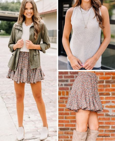 Fall outfit idea  Military jacket Sleeveless sweater Floral skirt  Date night outfit Fall look Fall style Fall fashion   #LTKunder50 #LTKSeasonal #LTKstyletip