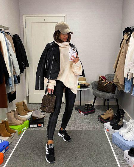 Fall outfit ideas  Blank NYC Faux Leather Jacket  Free People sweater Spanx Faux Leather Leggings  Adidas Swift Run Sneakers    #LTKstyletip #LTKSeasonal #LTKunder100