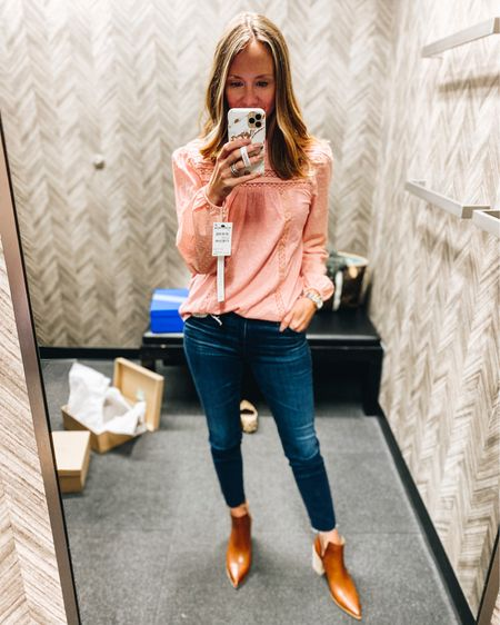 Such a cute top for fall and loved this color more than I thought. Also the softest booties ever! Nsale / Nordstrom / fall style / booties / AG jeans / Steve Madden  #liketkit http://liketk.it/2U6G6 @liketoknow.it #LTKunder50 #LTKshoecrush #LTKsalealert