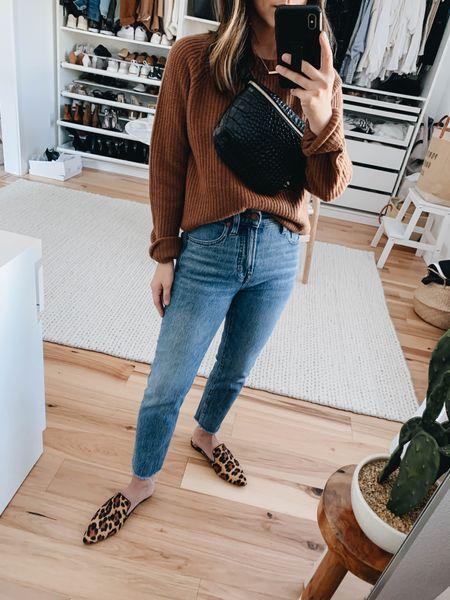 Fall essentials. Best fall sweaters. Madewelll vintage straight jeans in Ainsworth. On sale!  Sweater - Jenni Kayne xs (old) Jeans - Madewell 23 (size down) Mules - j.crew 5 (old) Bag - Clare V    #LTKSale #LTKsalealert #LTKshoecrush