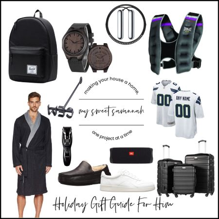My holiday gift guide 2021 for him!  Something fit every guy in your life. Personalized football jerseys, monogrammed watch, workout gear, comfy leisure wear, shoes, slippers, luggage, and more!   #LTKSeasonal #LTKunder100 #LTKGiftGuide