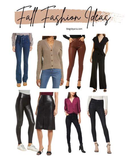 Fall fashion ideas to get from the Nordstrom Anniversary Sale #nsale   Faux leather leggings  Faux leather pencil skirt Jumpsuit  Flare jeans   #LTKSeasonal #LTKsalealert #LTKstyletip
