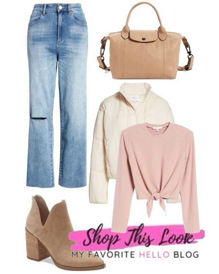 Back to school Summer to fall transition outfit with jeans, ankle booties, cropped jacket. #summertofall #nsale #backtoschool  #LTKunder100 #LTKstyletip #LTKsalealert
