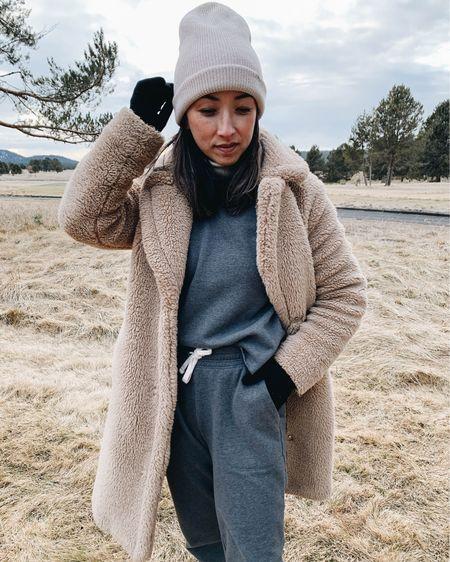 Sherpa coat. Splendid sweat set  Coat - Gap petite xs (old) Top - Splendid xs Sweats - Splendid xs Beanie - Madewell   http://liketk.it/38pTo #liketkit @liketoknow.it