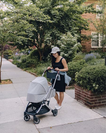 Amazon finds, Amazon fashion, casual maternity outfit, spring outfit, spring style, pregnancy style: light wash denim jacket (XS), embroidered mom baseball cap, mom hat, white leather sneakers (6.5 TTS), white Keds sneakers, UPPABaby Minu stroller, travel stroller, compact stroller, lightweight stroller, baby stroller. @liketoknow.it http://liketk.it/3g2Hi #liketkit   #LTKunder50 #LTKbaby #LTKfamily