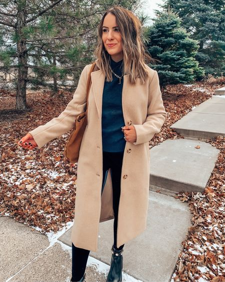 Casual neutral outfit!! Wearing S in all!!Coat // turtleneck // size up .5 in boots   #LTKstyletip #LTKHoliday #LTKSeasonal