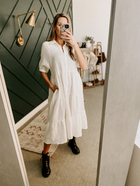 Casual Loose Midi Dress Color: White/TTS/wearing a size S  #ifounditonamazon #amazonfashion #amazonfinds #outfitoftheday #ootd #outfitideas #outfitinspo #AmazonDress  #Amazonfalldress #amazonMidiDress   http://liketk.it/3pOrP @liketoknow.it #liketkit #LTKSeasonal #LTKstyletip #LTKcurves #LTKfit