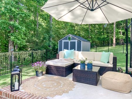 Looking forward to a little R&R this weekend with Biscuit and a nice glass of wine 🍷 on our porch! What do you like to do on the weekends or at night once you finally get the kids to bed? Give us all the ideas 🤩   If you have outdoor furniture and want to keep it that way I've linked this cover in my LIKEtoKNOW.it it comes in multiple sizes and is great for keeping your cushions looking nice over time with rain and bad weather. ⛈     #LTKfamily #LTKhome