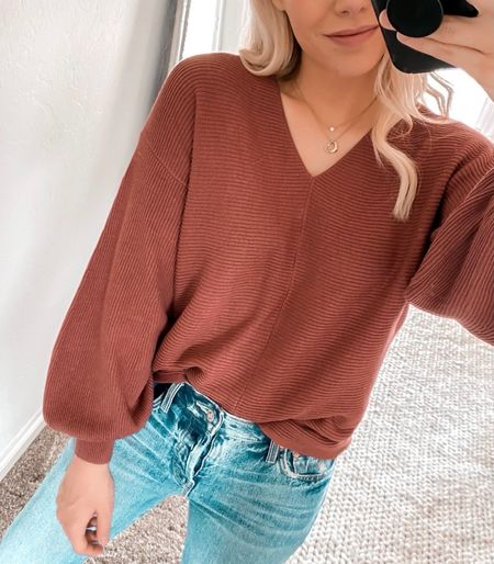 Ribbed Balloon Sleeve Cotton Blend Sweater, Fall Sweater, Fall Outfit, Madewell Jeans, Boots  #LTKSeasonal #LTKshoecrush #LTKunder100