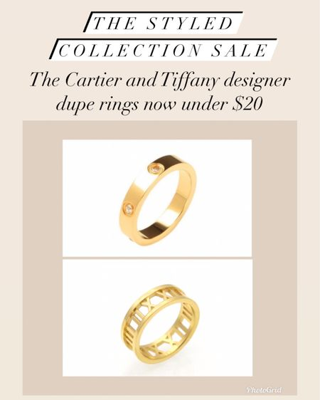 The Cartier and Tiffany dupe rings now on sale under $20 during LTK Day     #LTKunder50 #LTKsalealert #LTKstyletip #liketkit @liketoknow.it http://liketk.it/3hxd7    jewelry  Bracelet  Gifts for her Gift ideas  David Yurman Dupes  Designer Dupes Gold jewelry  Bangles  Coin necklace  Bangles  Bracelet stack  Gold rings  Cartier ring  Tiffany ring