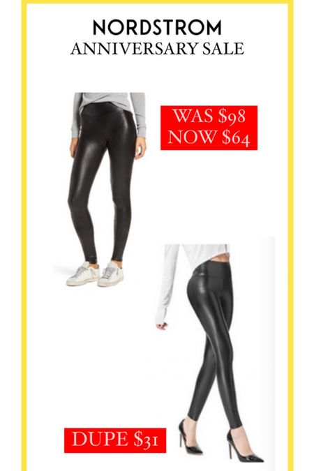 Nordstrom Anniversary Sale // I have found a dupe for the famous leather leggings on Amazon for only $31 — half the price of the SPANX being on sale! http://liketk.it/3jTOV #liketkit @liketoknow.it #LTKsalealert #LTKstyletip #LTKunder50