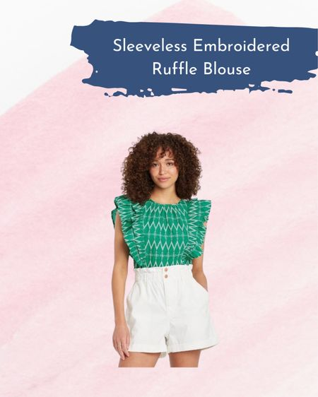 Wednesday Wishlist- Sleeveless Embroidered Ruffle Blouse    http://liketk.it/3iIo3 #liketkit @liketoknow.it #LTKunder50 #LTKworkwear
