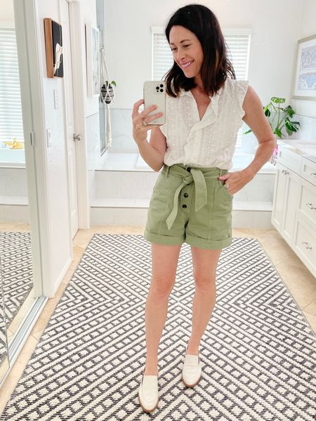 In Sezane shorts and top linked here. True to size or size up. Shoes are Freda Salvador, size down 1/2 or true to size. Code CONNI15 for 15% off   #LTKstyletip