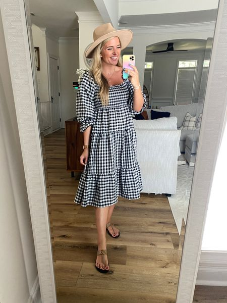 Black and white gingham dress - perfect transitional dress as we head until fall. $40 prime from amazon. TTS have the medium.   Get 15% off with code MORG15 on my Gucci dupe sandals - tts   #LTKsalealert #LTKSeasonal #LTKunder50