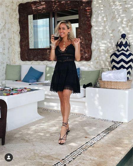 I Kristin Cavallari's black lace dress and strap he sandals http://liketk.it/3hSpW #liketkit @liketoknow.it #LTKtravel #LTKwedding #LTKshoecrush