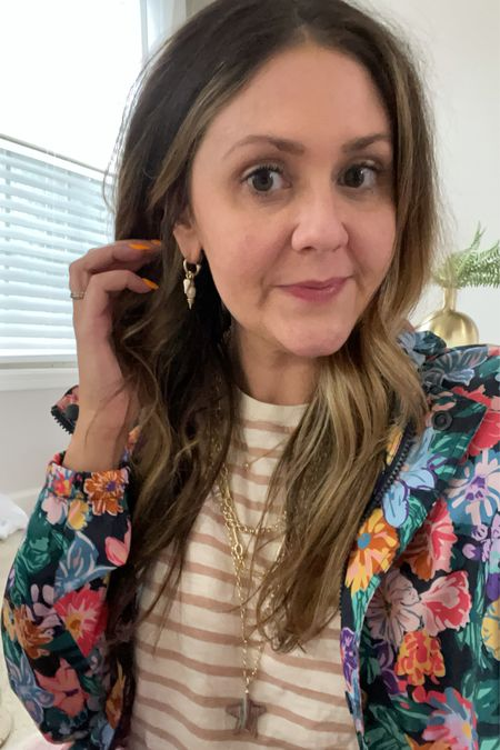 Gifted —Kendra Scott is having a 20% off sale many pieces this weekend! Here's my favorite Kendra Scott earrings + new necklaces. The gold vermeil piece (not on sale) was my anniversary gift.  Also linking this awesome Vera Bradley rain jacket! It's super cute for a rainy day. Fits oversized—size down one size. You will want a little bit oversized because rain jackets can get hot.  #LTKunder100 #LTKsalealert #LTKSeasonal