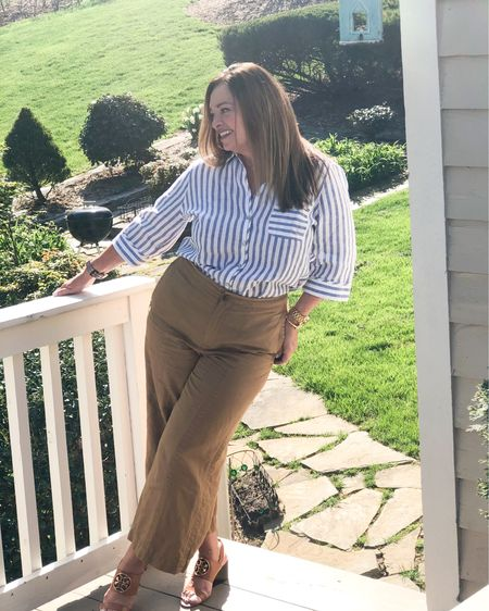 The comfort and ease of (washable linen)! This ensemble it ultra comfortable and chic! This no iron linen blend blouse is a definite summer staple! #gifted @lovechicos.  My crop cognac cropped pants are perfect to show off my TB miller wedges..   I am looking forward to watching the sunset on a boat ride! What are you excited about?  . . . . . .  http://liketk.it/3ccfV #LTKstyletip #LTKSpringSale #LTKtravel #liketkit @liketoknow.it.family @liketoknow.it.home @liketoknow.it.europe @liketoknow.it Shop my daily looks by following me on the LIKEtoKNOW.it shopping app