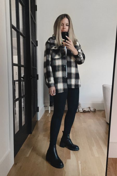 Fall outfit: shacket, leggings and lug boots 🖤