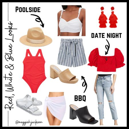 Easy and affordable red, white and blue looks for this Memorial Day Weekend that can be worn all summer! #competition  #LTKswim #LTKunder50 #LTKSeasonal