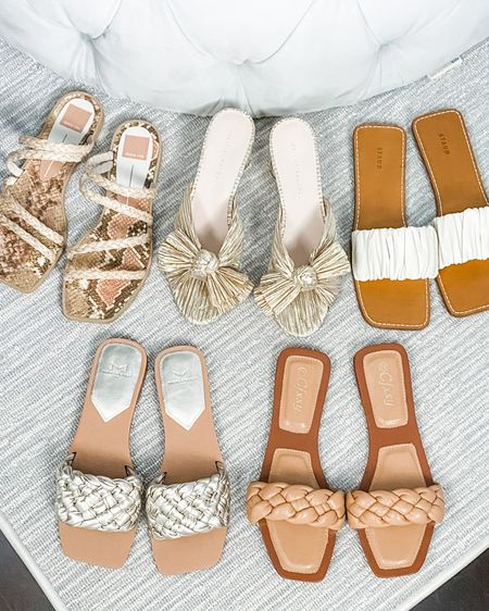 Summer sandals. Gold and neutral slides flat sandals low heels @liketoknow.it #liketkit http://liketk.it/3h6E6   #LTKshoecrush #LTKunder100 #LTKstyletip