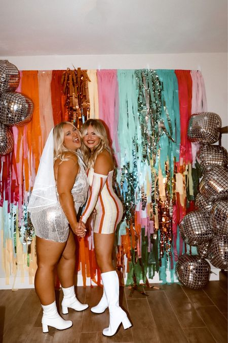 Retro, hippie bachelorette!   My dress is the Camilla mini dress from princess polly & hers is sold out but I linked similar  We got 7x7 in the backdrop!