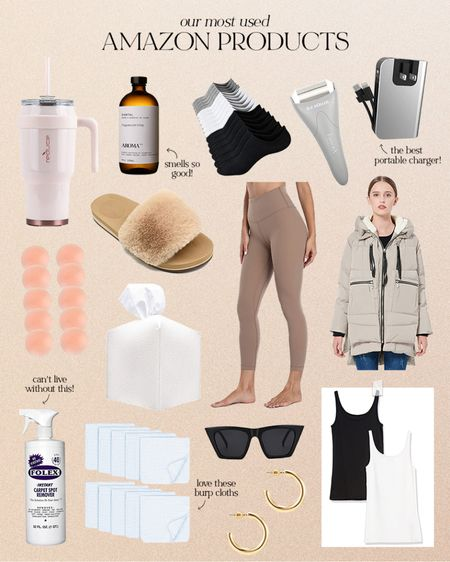 Our most used amazon products: 40oz water tumbler, santal essential oil, no show socks, ice roller, portable charger, nipple covers, house slippers, leggings, down jacket, tissue box cover, folex stain remover, sunglasses, muslin burp cloths, lightweight gold hoop earrings, tank tops   #LTKunder100 #LTKsalealert #LTKunder50