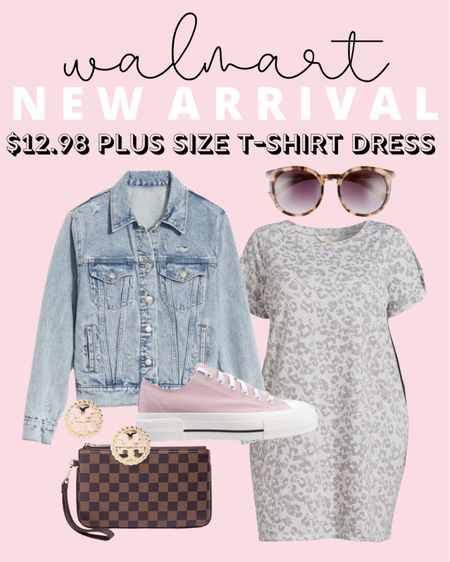 A super cute plus size outfit for summer to fall! This $13 plus size t-shirt dress is an affordable Walmart find!   #LTKstyletip #LTKcurves #LTKunder50