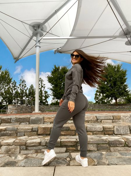 """Loveeeee this super soft grey jogger set!!! It is SO comfy!!! And it comes in multiple colors + it's on MAJOR SALE right now!!! + you get an additional 15% off with code """"TAKE15"""" so hurry and grab this while you can!!! Oh and the pants have pockets!!!   #LTKsalealert #LTKSeasonal #LTKstyletip"""