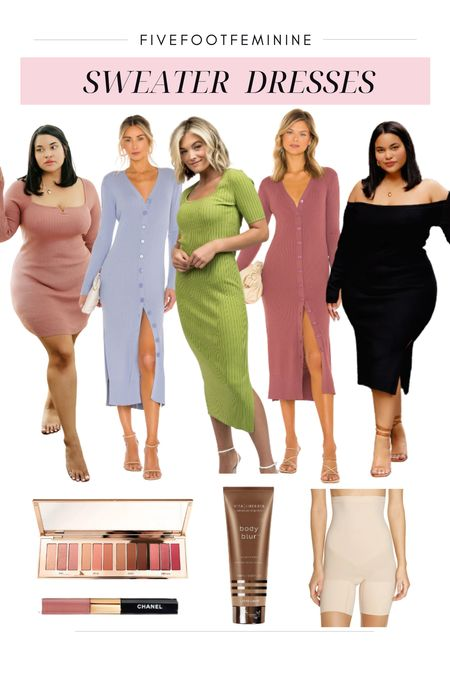 5 PETITE FRIENDLY SWEATER DRESSES  Click the link in my bio to shop! Wearing size XS in all & 25 short in jeans. #ltkfall #falloutfit #familyphotoutift #falldress #fallcardiganduster   #LTKunder100 #LTKSeasonal #LTKSale