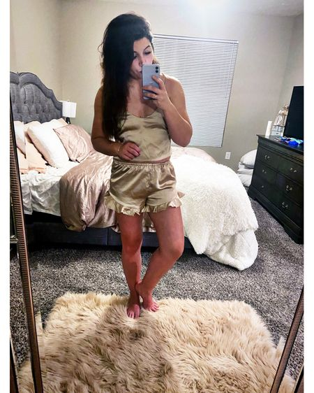 Alright so call me crazy but when life goes crazy just buy me all the things to wear while I'm cuddled up in bed 😂🤷🏻♀️ might as well look cute while you're decompressing right?! You can keep it mom appropriate aaaaand cute at the same time- the ones I have on right now are not available anymore but I linked a bunch that are on sale similar... I'm definitely snagging the pink striped ones I link because well you can't beat the price and uhm like you can see I have a bed I basically never want to get out of 😂😂😂 #allthingscozy up in here and now at a great price 🙃 do you wear actual pajamas or are you a T-shirt girl because honestly it's all in or an oversized tee for me and it all depends on whatever is in the drawer 😂 http://liketk.it/3f3Un #liketkit @liketoknow.it #LTKsalealert #LTKunder50 #LTKstyletip @liketoknow.it.brasil @liketoknow.it.europe @liketoknow.it.family @liketoknow.it.home Shop your screenshot of this pic with the LIKEtoKNOW.it shopping app Shop my daily looks by following me on the LIKEtoKNOW.it shopping app