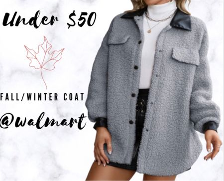 Turn town Sherpa long sleeve jacket with cute pockets! Perfect for fall or winter! Under $50 @walmart!   #LTKSeasonal #LTKHoliday #LTKstyletip