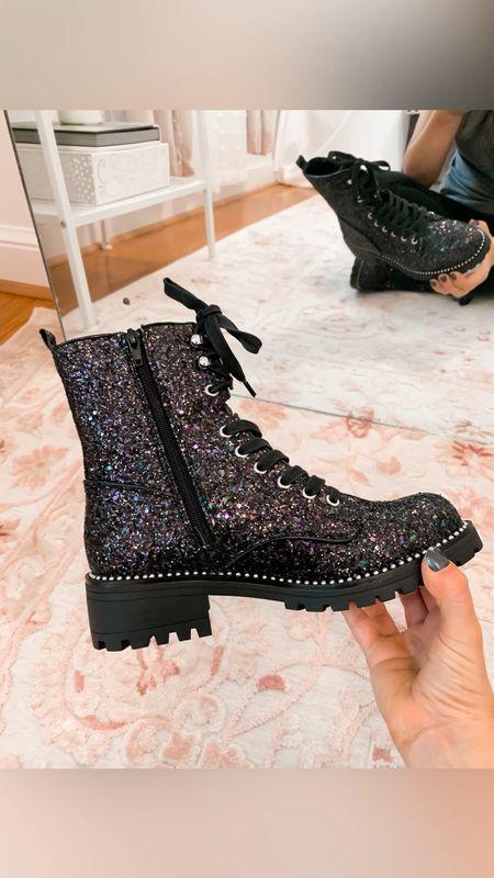 Sparkle combat boots   #LTKshoecrush #LTKstyletip #LTKSeasonal