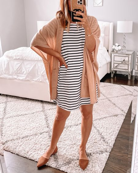 Teacher outfit idea 🙌🏻 striped dress and ruana. Wearing small in the dress.  Follow my shop on the @shop.LTK app to shop this post and get my exclusive app-only content!   #LTKsalealert #LTKunder50 #LTKstyletip