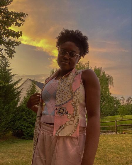 monochrome pink outfit: amazon silk scarf, pacsun sweater vest, h&m wide leg joggers💖  #LTKunder100 #LTKfit