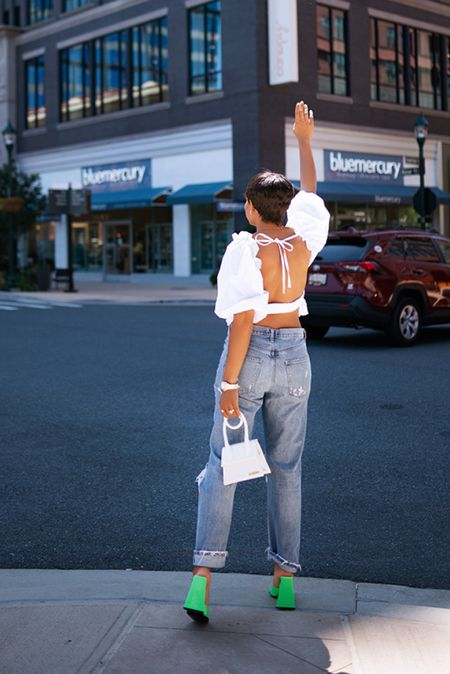 Summer date outfit  Open back top Distressed jeans White bag  #LTKitbag #LTKshoecrush #LTKstyletip