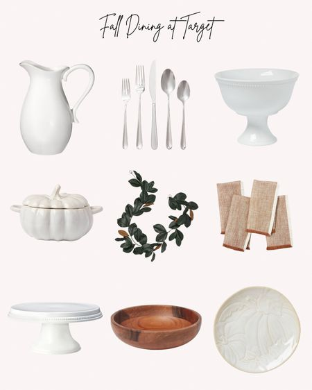 Fall, autumn, dining, dinnerware, Target, table decor, pitcher, flatware, pumpkin, cake stand, bowls, napkins, plates   Follow me for more ideas and sales.   Double tap this post to save it for later    #LTKSeasonal #LTKhome #LTKHoliday