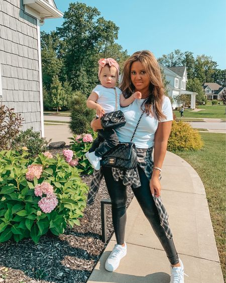Easy fall transition outfit with your mini: black leggings, white tees and Nike Air Force ones. Oh and how adorable is this quilted toddler bag? My Spanx leather leggings and Ellie's moto leggings are part of the #nsale going on right now! Shop everything in this pic in the @shop.LTK app or link in my bio #mommyandmefashion #spanx #momstyle #nordstromanniversarysale #nordstrom  #falltransition #toddlerfashion #realmomstyle #nordstromsale #spanxleggings #salealert #fallfashion #matchingfamily #twinning #targetstyle  #LTKfamily #LTKkids #LTKbaby