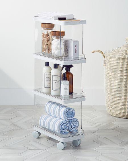 New Laundry Cart - great for small laundry rooms! Storage Solution, laundry cart organizer, laundry room organization, organized home, laundry room ideas, clear cart, laundry room cart @liketoknow.it #liketkit http://liketk.it/3hYA9 #LTKhome #LTKsalealert #LTKunder50 storage ideas, laundry room storage