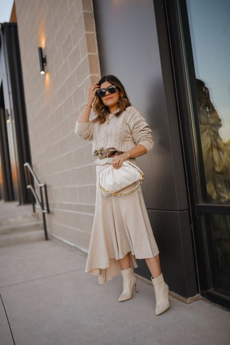 Cozy neutral look via Walmart! #ad ⚡️🧡⚡️ I couldn't be more in love with my most recent Walmart finds!! This skirt and sweater are such must-haves for the season! The possibilities with both of them are endless! They both run tts! I'm wearing size small in both pieces. #LTKfall #Walmartfashion  #LTKunder50