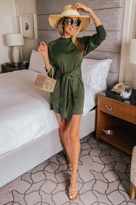 Summer dress, mini dress in olive green, revolve dress, green dress, travel outfit dress, casual chic style, straw hat, flat sandals, embellished sandals   #LTKstyletip #LTKtravel #LTKshoecrush